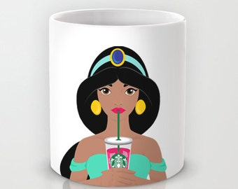 Personalized mug cup designed PinkMugNY - I love Starbucks - Princess Jasmine (Disney Princess) - Aladdin