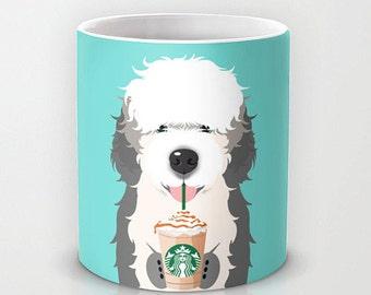 Personalized mug cup designed PinkMugNY- I love Starbucks - Old English Sheep Dog #2