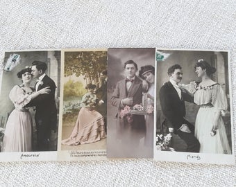 Free Ship. 1900-1910 Antique French Postcards with Couples - Nib Writing - Please read the description.