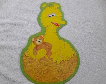 80s Jigsaw Puzzle 21 inches  54 cm high - Big Bird - Sesame Street - 9 pieces - Giant Puzzle Pieces