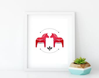 Red Dala Horse Art Print, Instant Digital Download