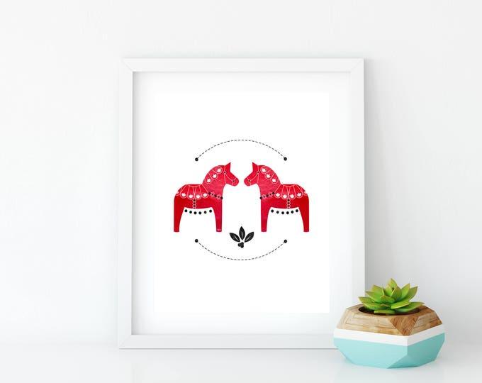 Red Dala Horse Art Print, Instant Digital Download