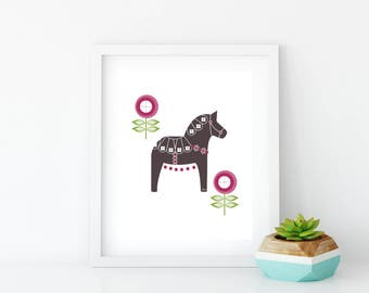 Magenta Floral Dala Horse Art Print, Instant Digital Download