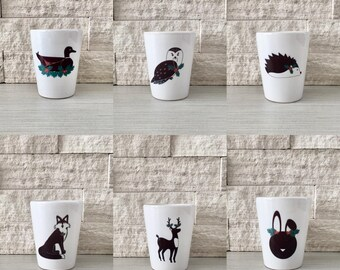 Holiday Animal Set, Shot Glass, Holiday Animals, Christmas Animals, Hostess Gift, Stocking StufferTiny Pot, Tiny Planter, Woodland