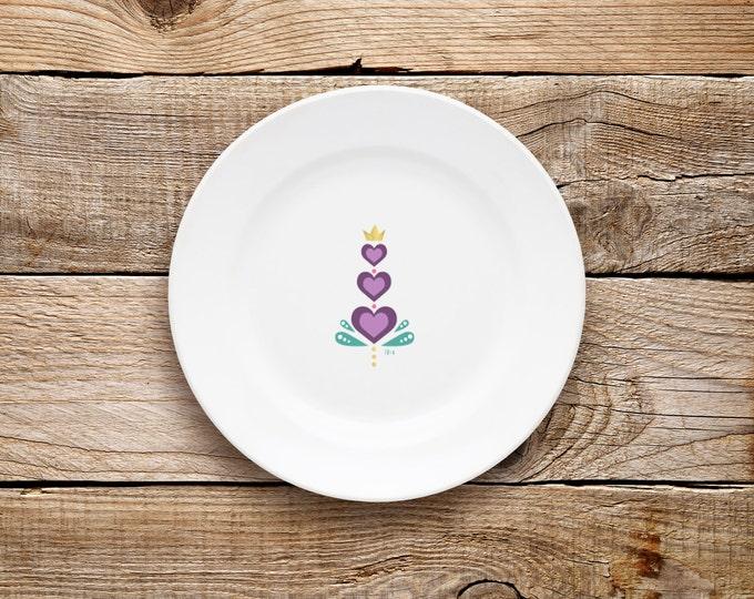 Decorative Plate, Purple Heart Plate, Valentine's Day, Plate, Dessert Plate, Purple, Love, Hearts, Scandinavian, Gold