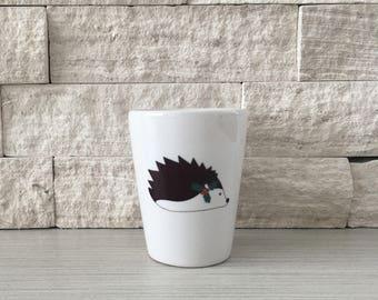 Hedgehog Mug, Hedgehog Shot Glass, Shot Glass, Holiday Hedgehog, Christmas Hedgehog, Hedgehog, Hostess Gift, Stocking Stuffer