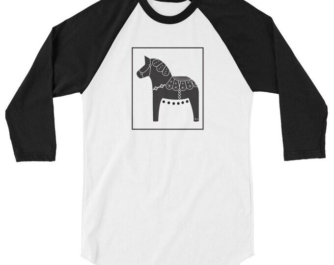 Dala Horse 3/4 sleeve raglan shirt