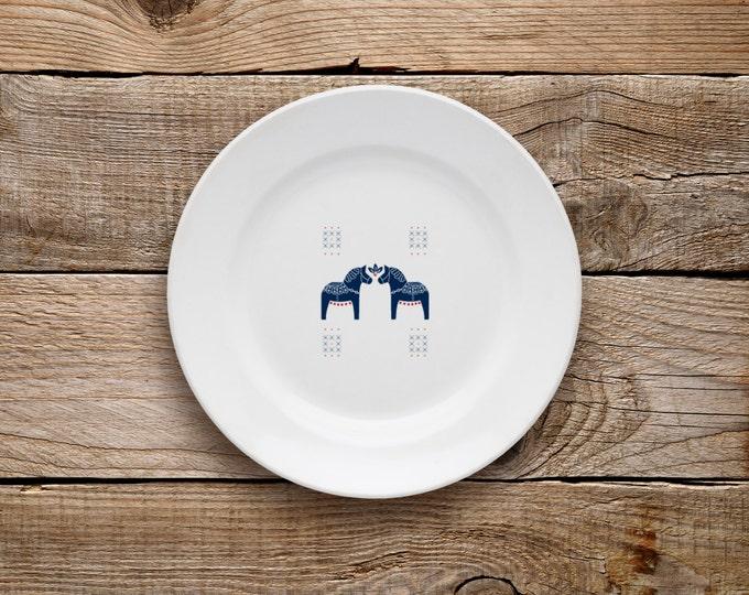 Decorative Plate, Dala Horse Plate (Navy), Dessert Plate, Swedish Horse, Dala Horse, Horse, Scandinavian Horse, Scandinavian, Navy and Red