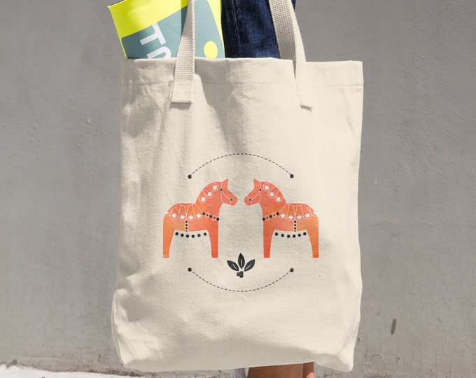 Dala Horse Cotton Tote Bag, Tote Bag, Reusable Bag, Shopping Bag, Horse, Orange, Folk Art, Farm House