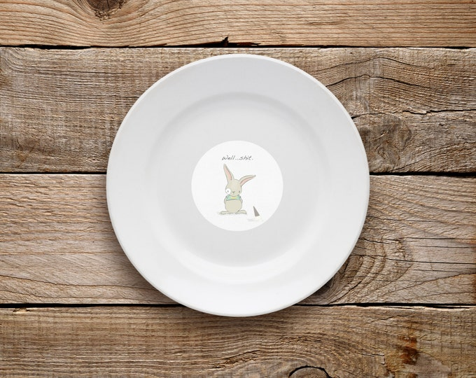 Decorative Plate, Well Shit Plate, Dessert Plate, Well Shit, Merry Christmas, Bunny, Funny, Inspirational