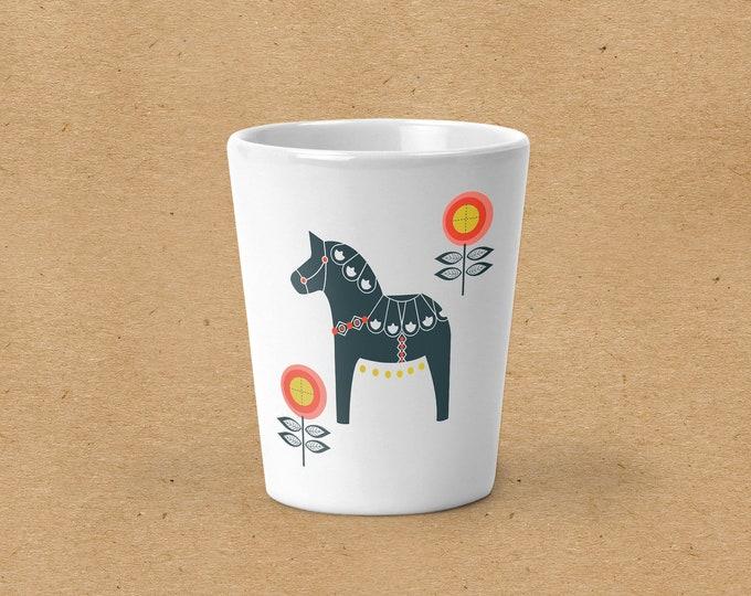 Floral Dala Horse Shot Glass