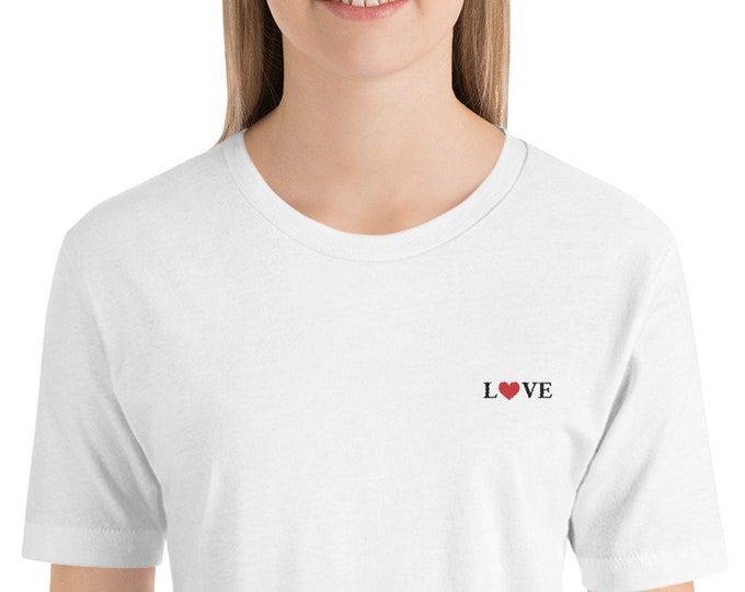 Love Embroidered Short-Sleeve Unisex T-Shirt