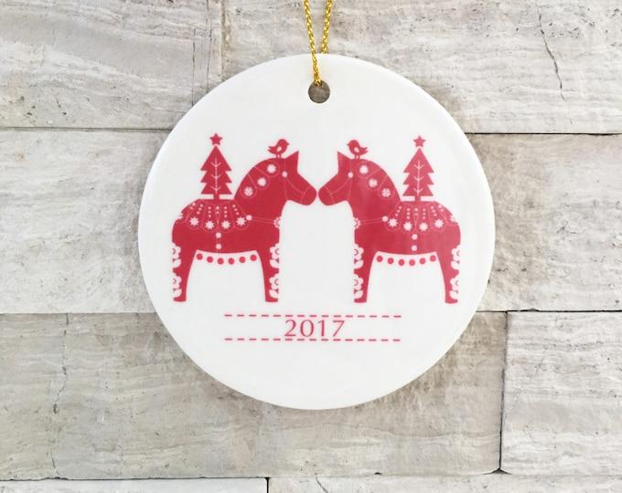 Personalized Ornament, Dala Horse Circle Ornament