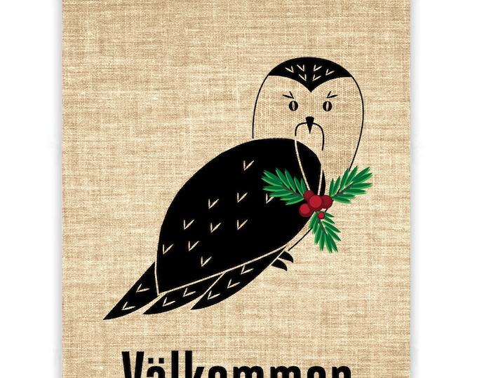 Christmas Owl Burlap Banner