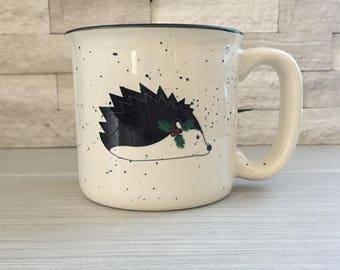 Ceramic Camping Mug, Hedgehog Campfire Mug, Hedgehog Mug, Christmas Mug, Christmas Hedgehog, Holiday Hedgehog Mug