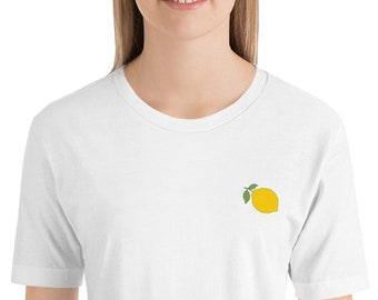 Lemon Embroidered Short-Sleeve Unisex T-Shirt