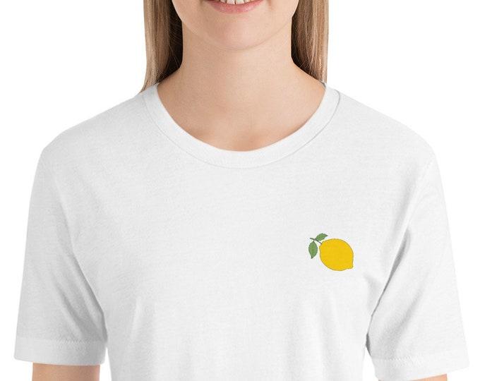 Lemon Embroidered Short-Sleeve Unisex T-Shirt