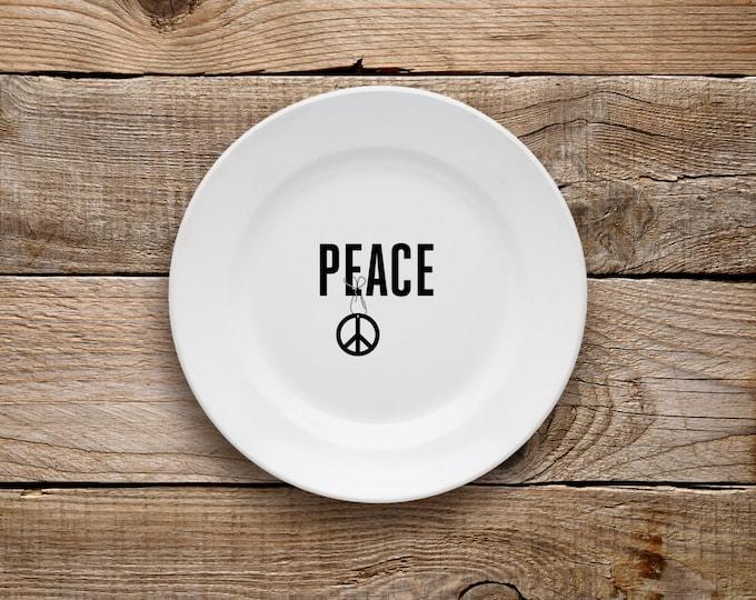 Decorative Plate, Peace Plate, Dessert Plate, Peace, Black and White, Breakfast, Breakfast Plate, Love