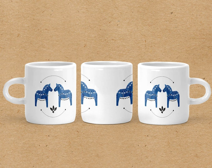 Blue Watercolor Dala Horse Espresso Mug