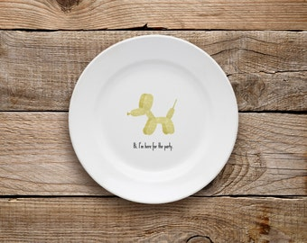 Decorative Plate, Golden Balloon Dog Plate, Dessert Plate, Glitter, Gold Glitter, Sparkle, Balloon Dog