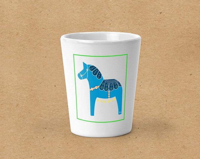 Turquoise Dala Horse Shot Glass