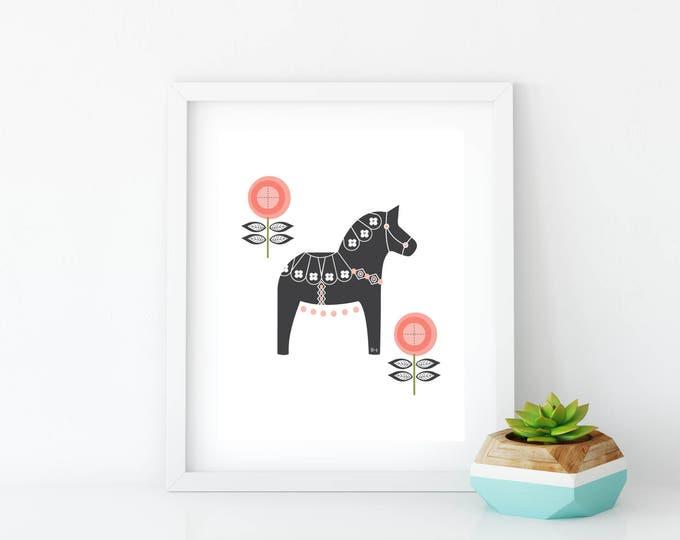 Gray and Coral Floral Dala Horse  Art Print, Instant Digital Download