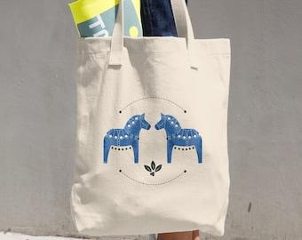 Dala Horse Cotton Tote Bag, Tote Bag, Canvas Bag, Reusable Tote, Dala Horse, Farm House, Horse
