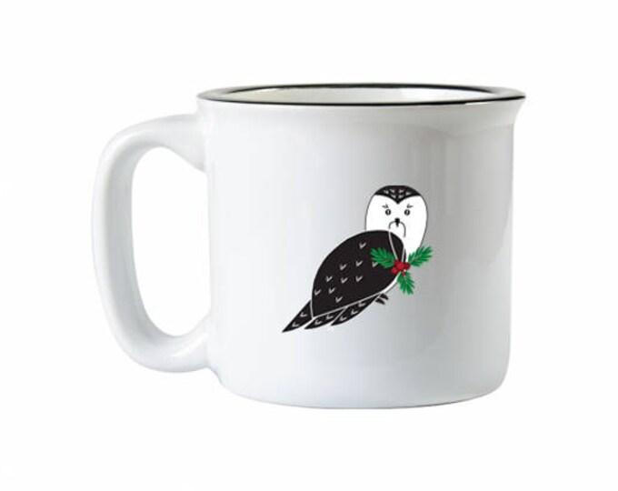 Ceramic Camping Mug, Owl Campfire Mug, Owl Mug, Holiday Owl Mug, Christmas Mug, Christmas Owl Mug