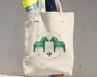 Green Dala Horse Cotton Tote Bag, Tote Bag, Canvas Bag, Dala Horse, Reusable Tote, Horse, Horse Bag