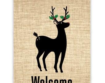 Christmas Deer Burlap Banner