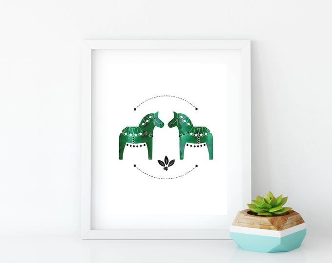 11 x 17, Green Dala Horse Art Print, Instant Digital Download