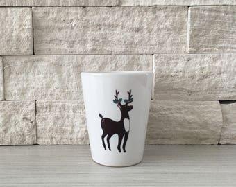 Deer Mug, Deer Shot Glass, Shot Glass, Holiday Deer, Christmas Deer, Deer, Hostess Gift, Stocking Stuffer, ReindeerTiny Pot, Tiny Planter