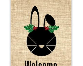 Christmas Bunny Burlap Banner