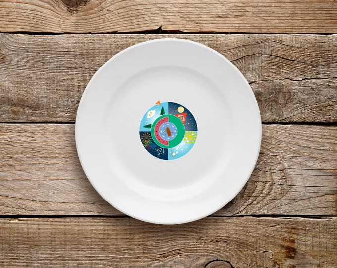 Decorative Plate, Summer Plate, Dessert Plate, Summer, Camping, S'More, Fireworks, Bubbles, Fishing