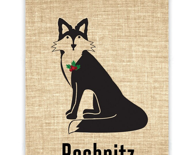Christmas Fox Burlap Banner
