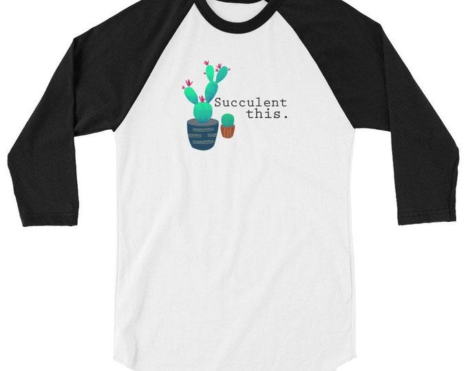 Cactus 3/4 sleeve raglan shirt