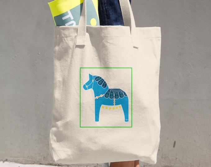 Canvas Tote Bag, Tote Bag, Canvas Bag, Canvas ToteDala Horse Cotton Tote Bag, Reusable Tote, Reusable Bag, Cloth Bag