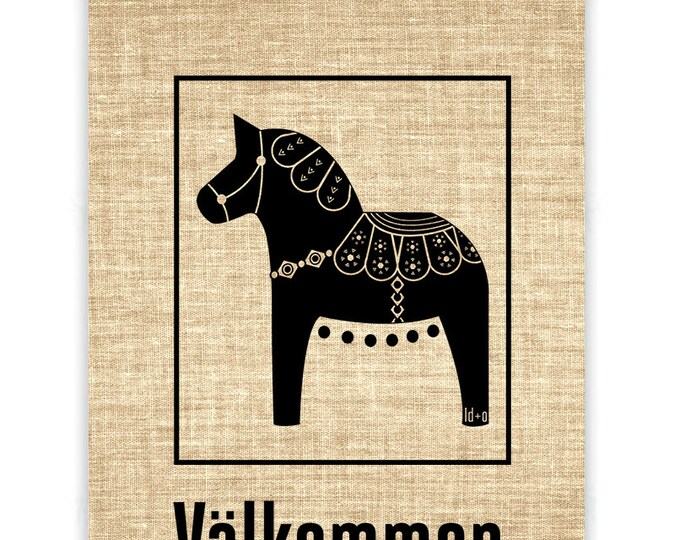 Dala Horse Valkommen Burlap Banner
