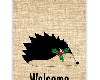 Christmas Hedgehog Burlap Banner
