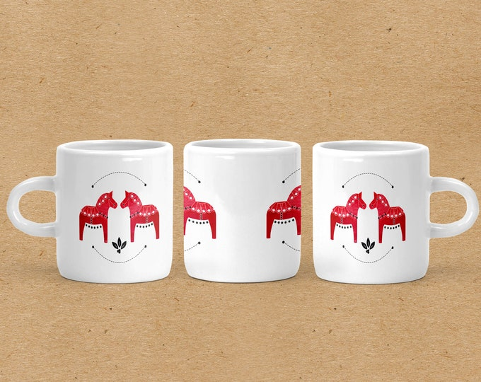 Red Watercolor Dala Horse Espresso Mug
