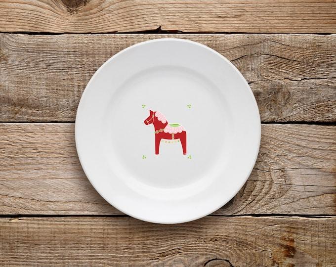 Decorative Plate, Dala Horse Plate (Red), Swedish Horse, Horse, Plate, Dessert Plate, Love, Hearts, Scandinavian, Gold