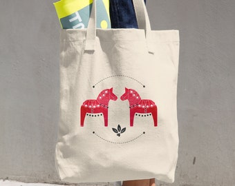 Dala Horse Cotton Tote Bag, Tote Bag, Reusable Tote, Shopping Bag, Horse, Dala Horse, Red