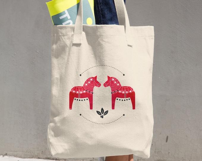 Dala Horse Cotton Tote Bag, Tote Bag, Reusable Tote, Shopping Bag, Horse, Dala Horse, Red