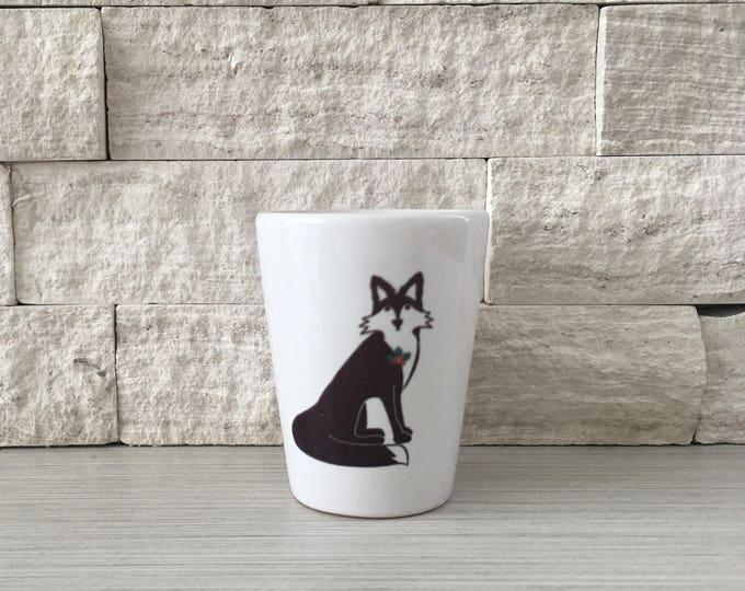 Fox Mug, Fox Shot Glass, Shot Glass, Holiday Fox, Christmas Fox, Fox, Hostess Gift, Stocking StufferTiny Pot, Tiny Planter