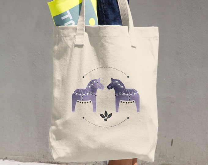 Dala Horse Cotton Tote Bag, Tote Bag Reusable Bag, Dala Horse, Horse, Shopping Bag
