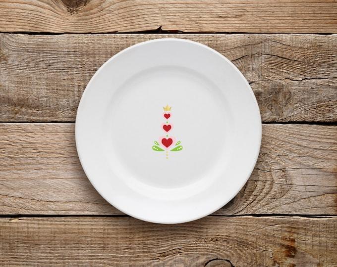 Decorative Plate, Heart Plate, Valentine's Day, Plate, Dessert Plate, Love, Hearts, Scandinavian, Gold