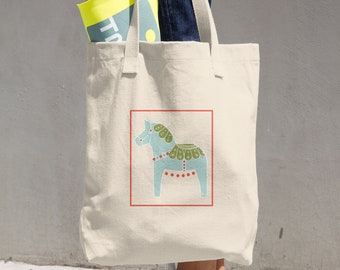 Canvas Tote Bag, Tote Bag, Canvas Bag, Canvas ToteDala Horse Cotton Tote Bag, Reusable Tote, Reusable Bag, Cloth Bag