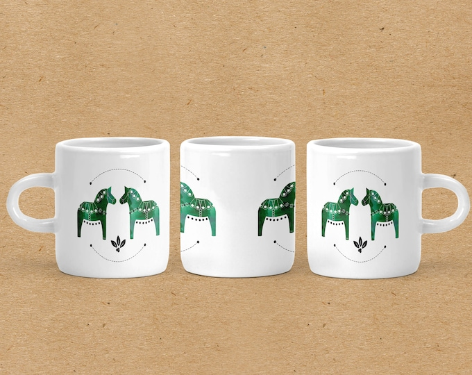 Green Watercolor Dala Horse Espresso Mug