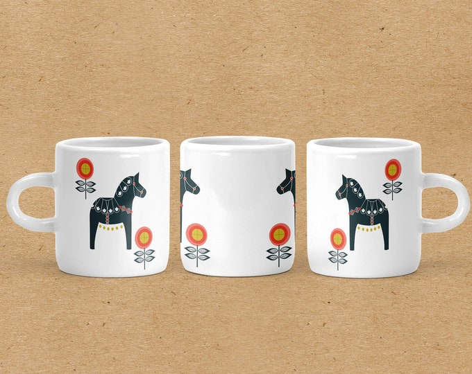 Navy and Orange Floral Dala Horse Espresso Mug