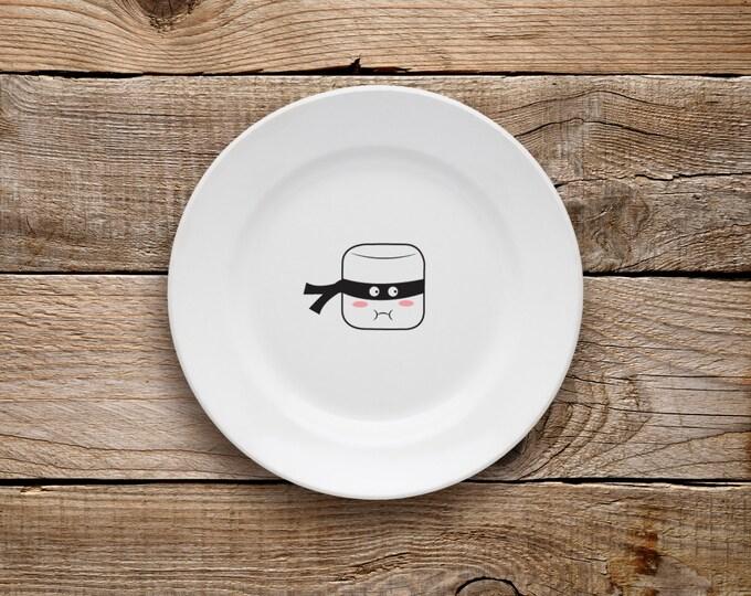 Decorative Plate, Marshmallow Plate, Dessert Plate, Marshmallow, Hot Chocolate, Marshmallow Ninja, Ninja, Black and White,